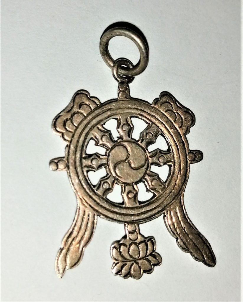 ciondolo Tibet argento buon auspicio ruota del dharma nodo infinito