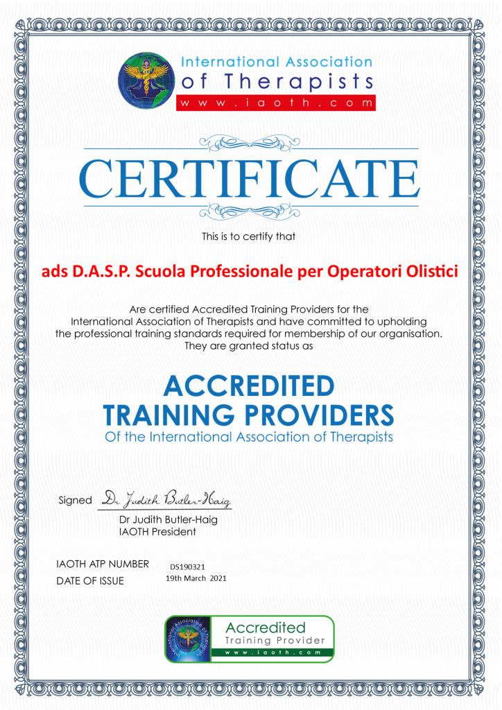 ads D.A.S.P. Scuola Professionale per Operatori Olistici DS Accredited training provider